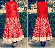 BOLLYWOOD DESIGNER GORGEOUS LATEST RED RAW SILK UNSTITCHED ANARKALI SUIT