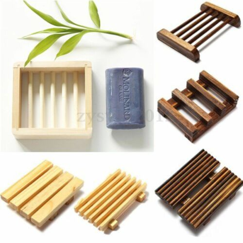 Natural Wood Soap Tray Holder Dish Box Case Bath Shower Plate Bathroom