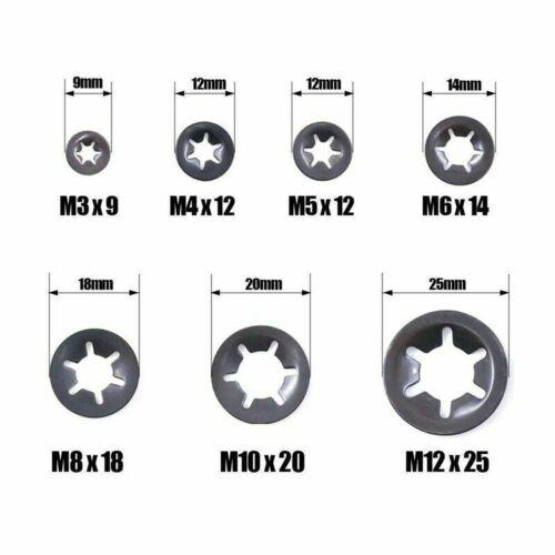340x Internal Tooth Star Lock Push On Locking Washers Speed Clips Fasteners Kits