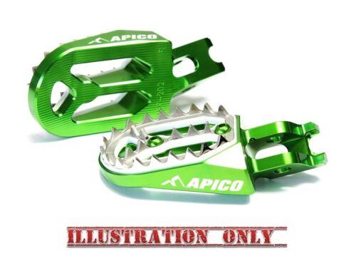 Apico PRO-BITE Foot Pegs KAWASAKI KXF250 06-16 KXF450 07-16 Footrests GREEN