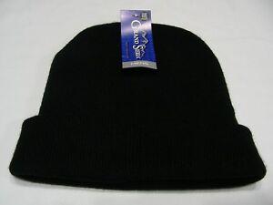 GRAND SIERRA - BLACK - ONE SIZE STOCKING CAP BEANIE HAT!