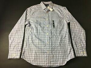Banana-Republic-New-Mens-Blue-Plaid-Long-Sleeve-Button-Front-Shirt-Size-Large