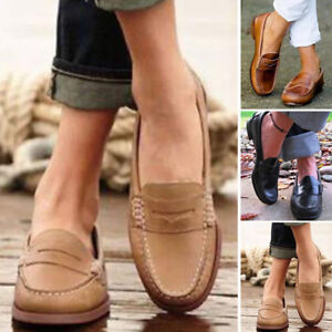 Womens-Retro-Casual-Single-Shoes-Moccasin-Loafers-Slip-On-Peas-Leather-Lazy-Shoe