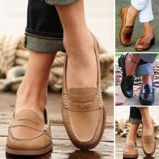 Women Retro Single Loafer Slip On Leather Casual Moccasin Office Boat Lazy Shoes