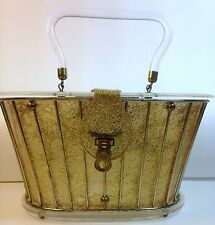 1950's DORSET REX LUCITE LUNCHBOX CLEAR LIDDED SWING HANDBAG - GOLD THREADS