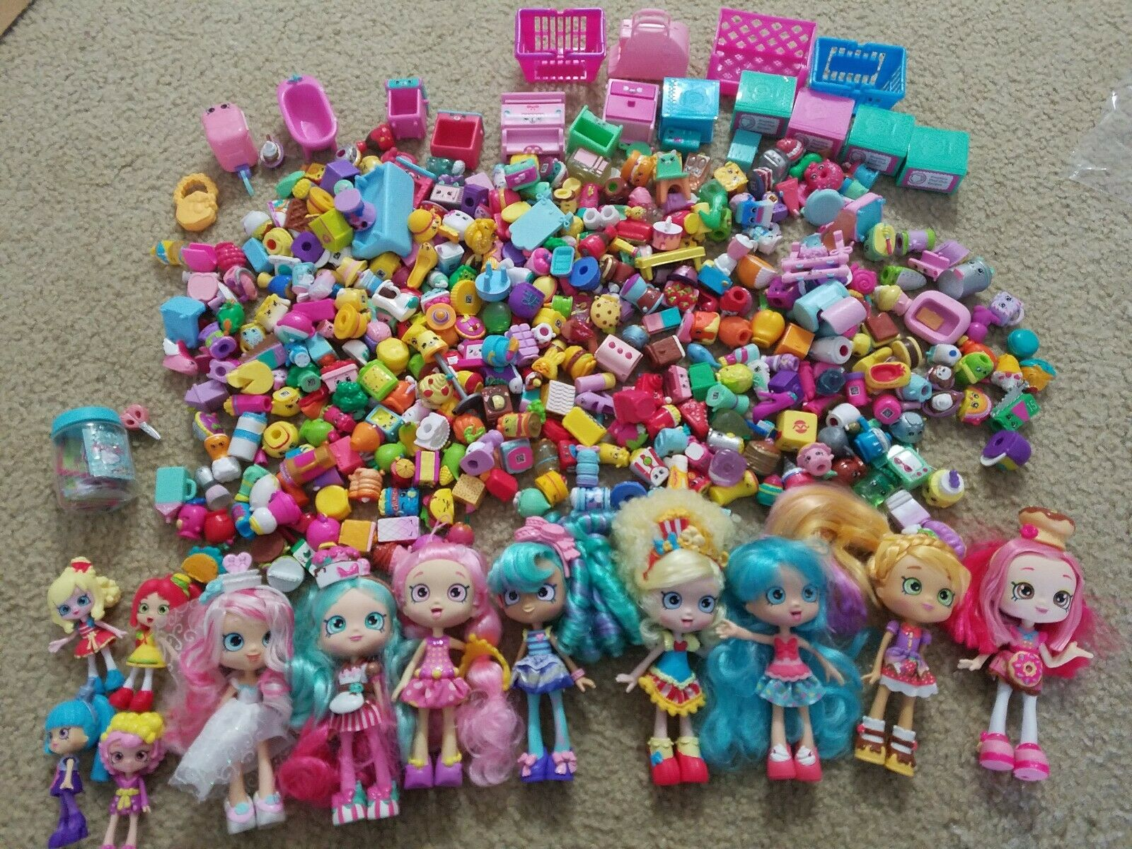 HUGE Shopkins lot + 13 Dolls & Accessories Moose Toys over 450pc