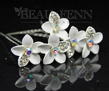 SET OF 5 CRYSTAL & PEARL FLOWER HAIR PINS CLIPS ACCESSORIES