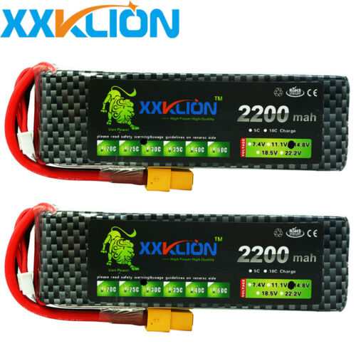 2pcs RC Lipo Battery 14.8V 2200mAh 30C 4S XT60 For Helicopter RC car Truck Drone