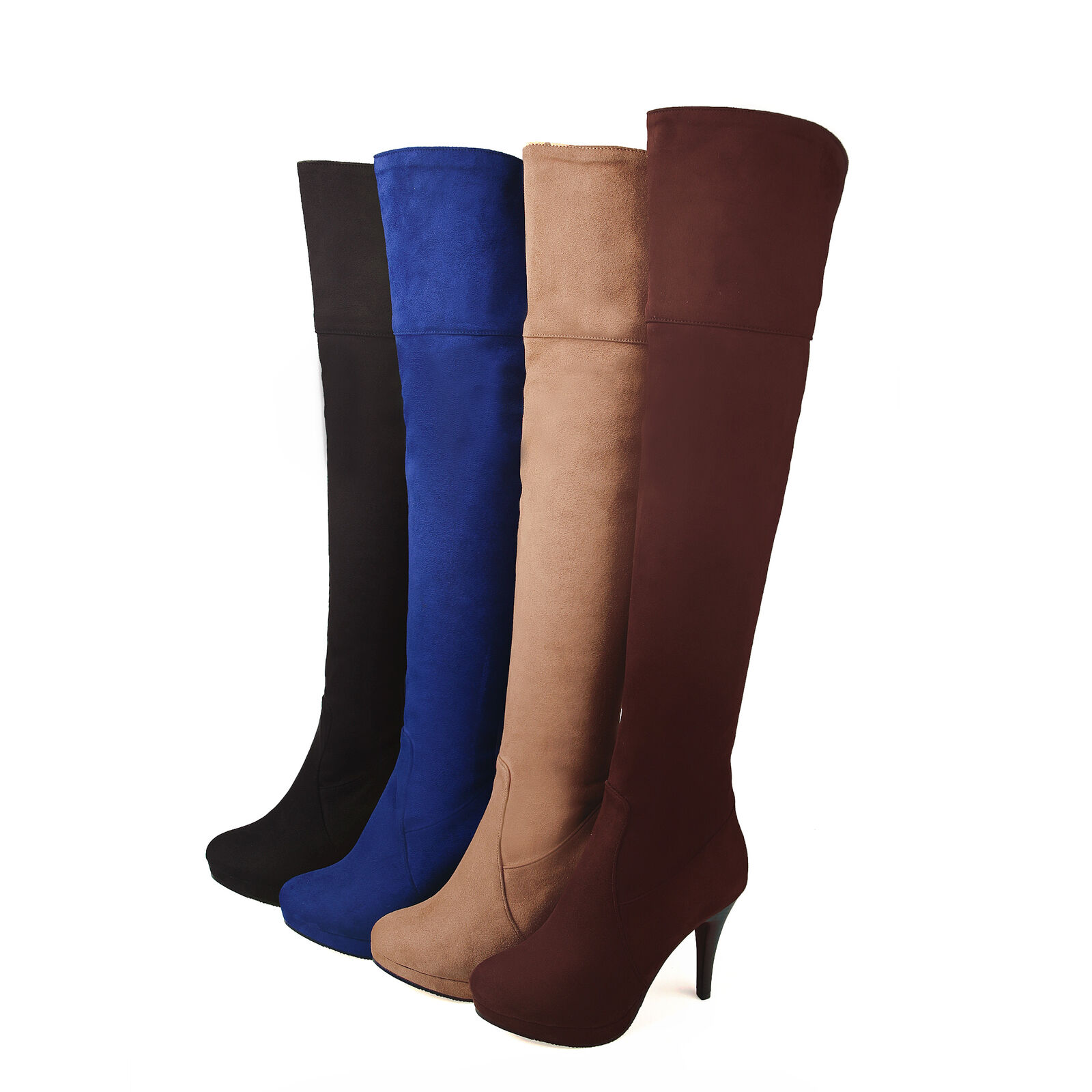 Ladies High Heels Side Zipper Over The Knee High Boots Cuffed Suede shoes US 8