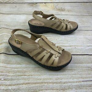 Details about Clarks Bendables Tige De Cuir Leather Cutout Slingback Sandals Adjustable 5.5M