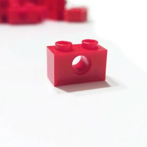 10x Red Lego Technic Brick 1 x 2 with Hole 3700