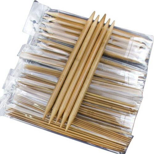 2X 75pcs//set 15 Sizes 20cm Double Pointed Carbonized Bamboo Knitting R7C3