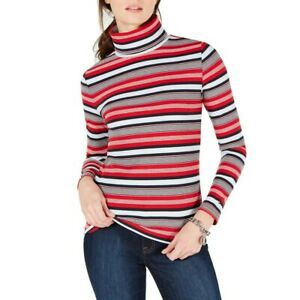 TOMMY-HILFIGER-NEW-Women-039-s-Striped-Turtleneck-Knit-Casual-Shirt-Top-TEDO