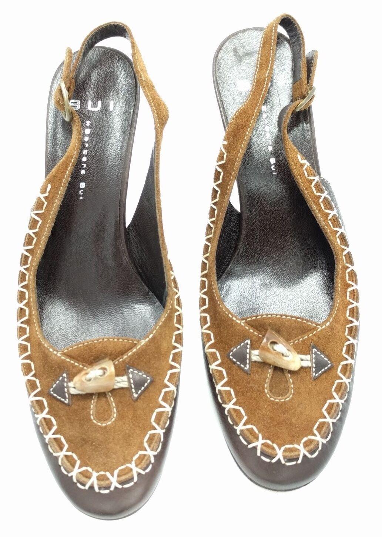 New BARBARA BUI Brown Suede Leather Slingback Pump Buckle Heels shoes 38.5 8.5M
