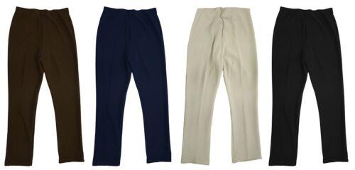 Womens New Size 12-24 Stretch Rib Trouser Beige Brown Navy Blue Black *LICK*