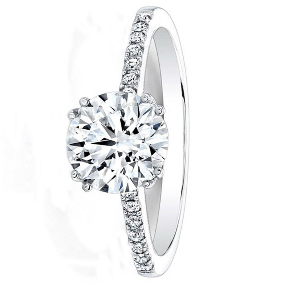 0.53 Round Cut Real Diamond Engagement Ring 14K Solid White gold Size 8 7 6 5.5
