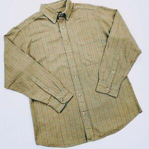 NWT-Woolrich-Flannel-Plaid-Button-Work-Shirt-Cotton-Long-Sleeve-Mens-Green-Med
