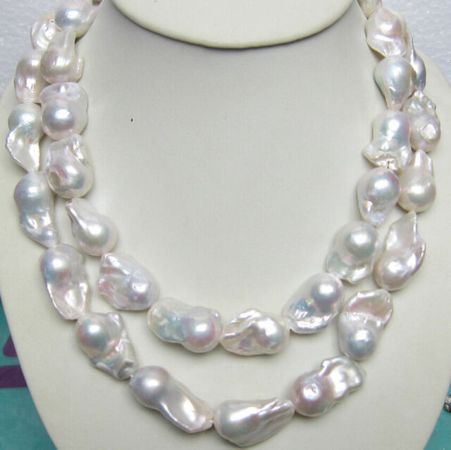 eabdb30661d76 HUGE 15-25mm South Sea Genuine White Baroque Pearl Necklace 35 Inch