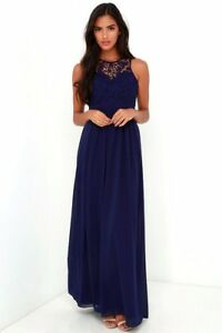 0eb10d08d27 Lulu s So Far Gown Navy Blue Lace Maxi Dress Size - Small