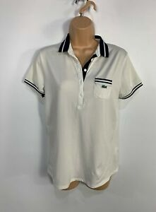 WOMENS-LACOSTE-SPORT-SIZE-38-UK-10-WHITE-CASUAL-SHORT-SLEEVE-STRETCH-POLO-SHIRT