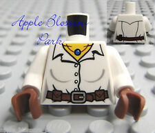NEW Lego Female WHITE MINIFIG TORSO w/Button Shirt Belt Necklace & Brown Hands