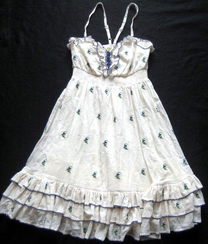 ANTHROPOLOGIE FLOREAT Damenkleid creme geblümt Gr. 2 UK Gr. 30 EU