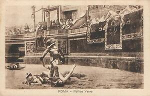 EARLY-1900-039-s-VINTAGE-ROMA-POLLICE-VERSO-POSTCARD-GLADIATORS-in-COLOSSEUM