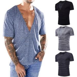 Sommer-Herren-tiefer-V-Ausschnitt-Kurzarm-T-Shirt-Slim-Fitness-Shirts-Tops