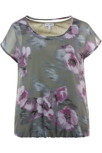 Gina Laura Oversized Bluse doppellagig Druck grün NEU