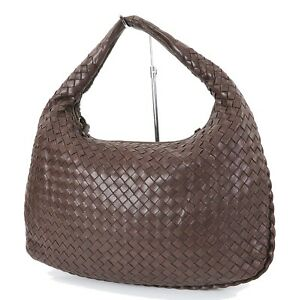 Authentic-BOTTEGA-VENETA-Brown-Woven-Leather-Tote-Hand-Bag-Purse-33105