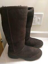 "UGG AUSTRALIA 5340 Ultra 11.5""Tall Braid Brown Sheepskin Sherpa Boots Shoes Sz 8"