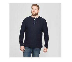 Goodfellow-amp-Co-Men-039-s-Big-amp-Tall-Long-Sleeve-Textured-Henley-Shirt-Blue-5XB