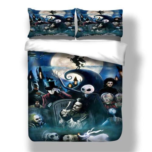 3D The Nightmare Before Christmas Jack Quilt Duvet Cover Pillowcase Halloween