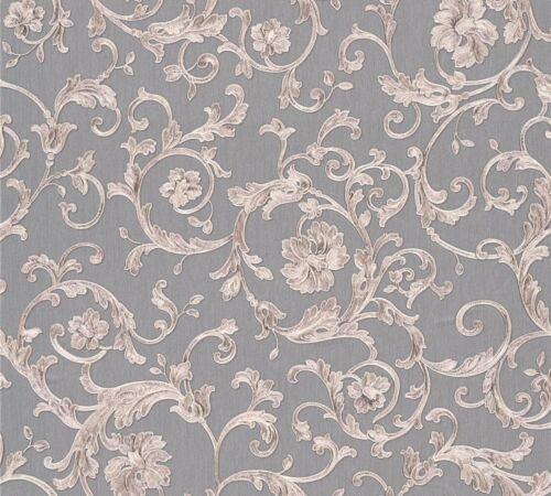 12,02€//1qm Versace Home Tapete Vlies Floral grau silbergrau Glitzer 34326-5