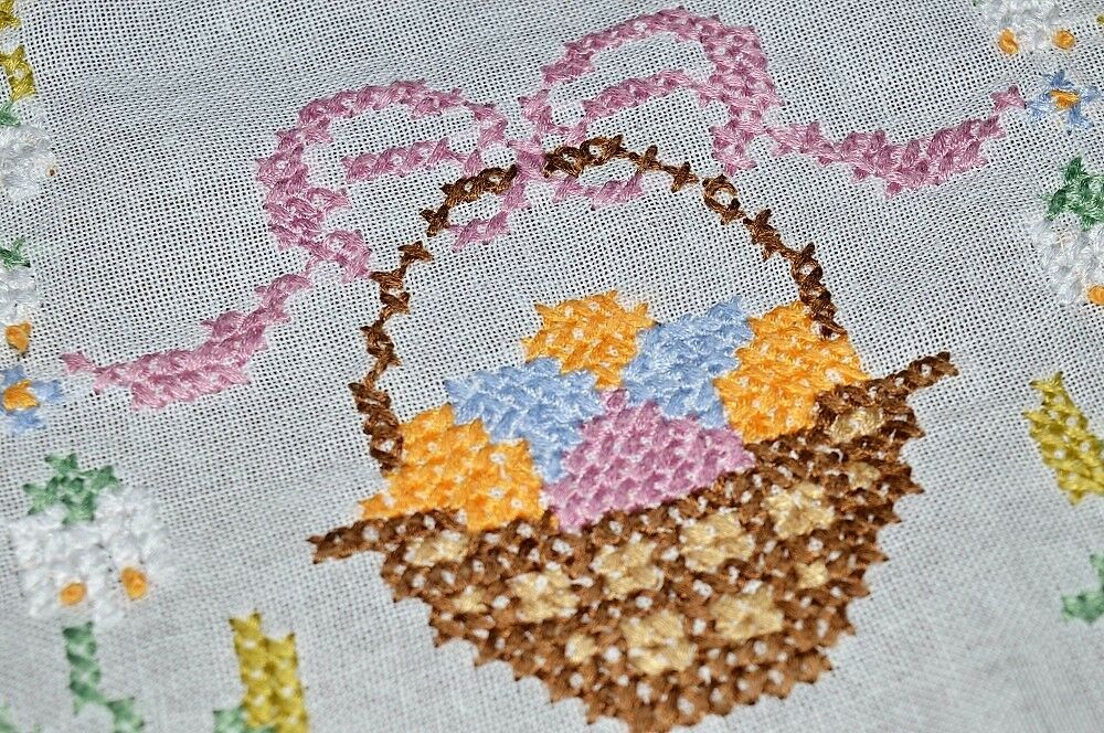 SPRING BASKETS OF EASTER EGGS TIED W  rose BOWS  VTG GERMAN HAND EMB TABLECLOTH