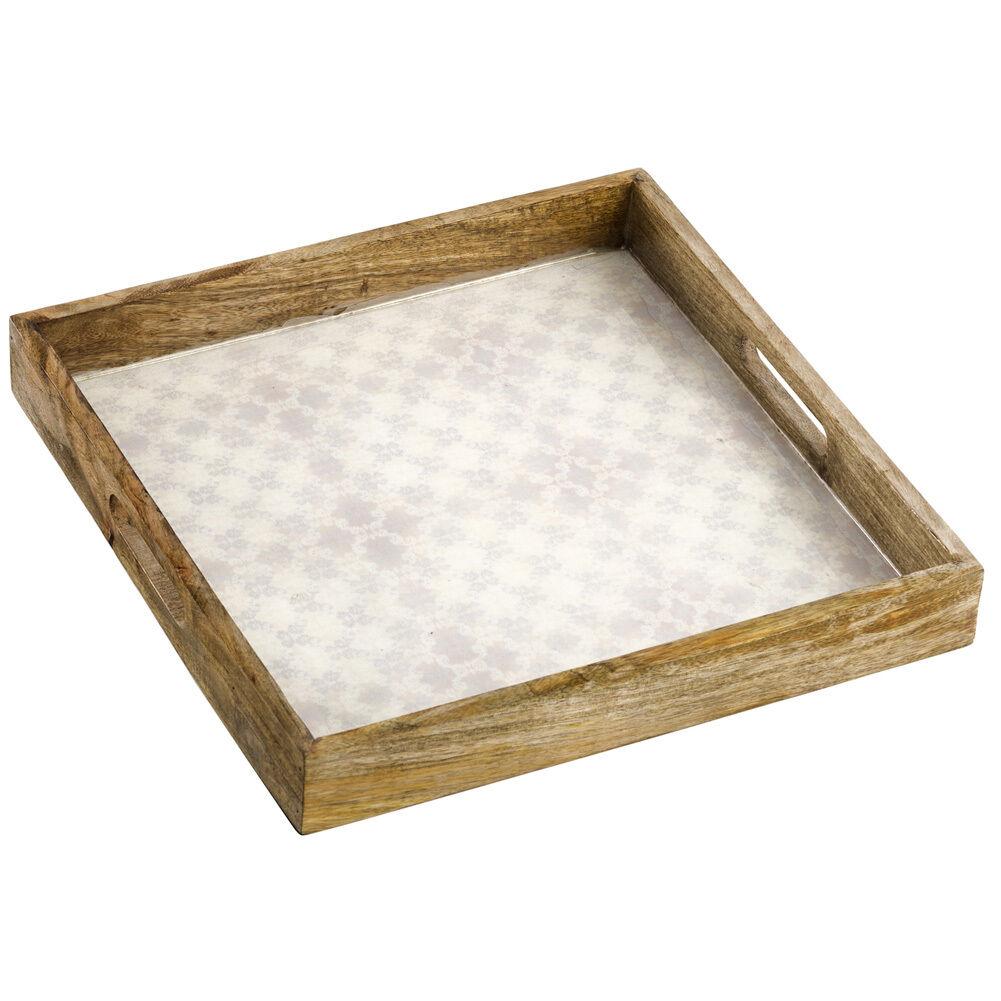 Tablett aus Holz mit Ornamentmotiv 38cm creme creme creme   Modern Und Elegant In Der Mode  d5a8b5