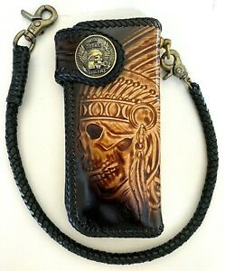 Leather-biker-trucker-motorcycle-Chain-Wallet-hand-Tooled-Chief-of-war-Rider
