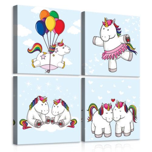 Canvas Toile la fresque Licorne Arc en Ballon Enfants ciel 3fx11473s20