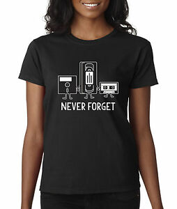 bfafc82920d95b New Way 467 - Women s T-Shirt Floppy Disk VHS Tape Cassette Player ...
