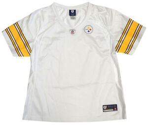 60fcab188d6e Image is loading Pittsburgh-Steelers-NFL-Womens-Plain-White-Mesh-Jersey