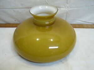Early Gold Amber Yellow Cased Milk Glass Lamp Shade Light Fluid Oil Rayo Table