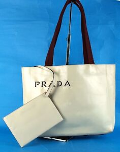 3b09e781a3d4 Image is loading Authentic-PRADA-Milano-Ivory-Leather-Tote-Hand-Bag-
