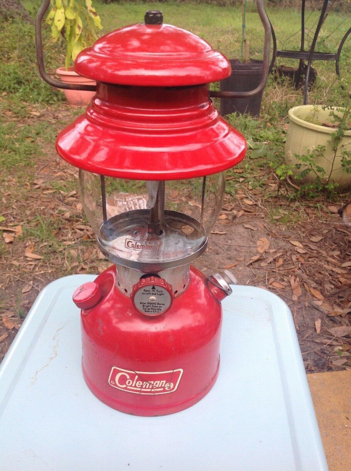 Coleman Lantern Coleman Model 200A  Vintage 1972 Coleman Lantern Pyrex Globe