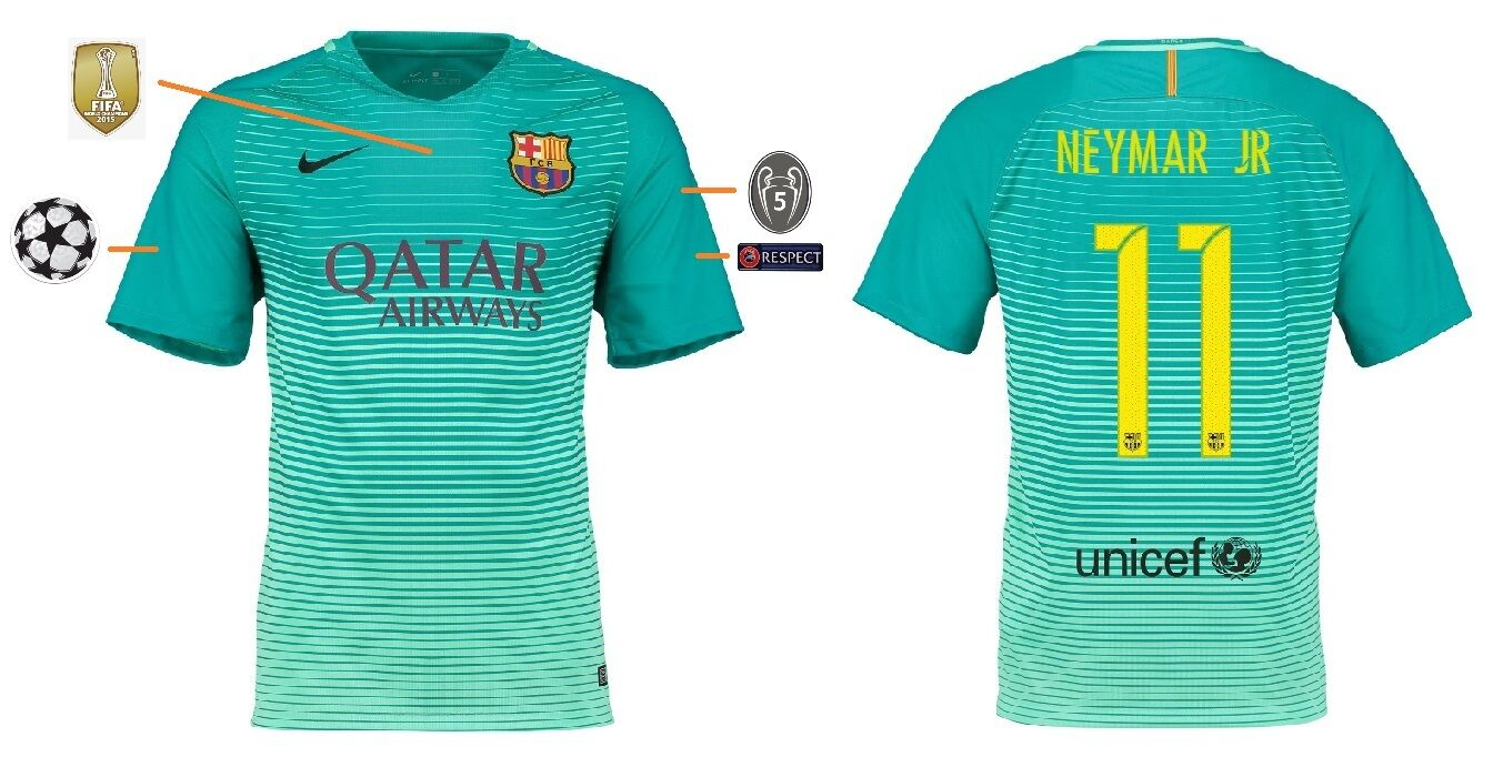 Trikot FC Barcelona 2016-2017 Third UCL - Neymar 11  Champions League