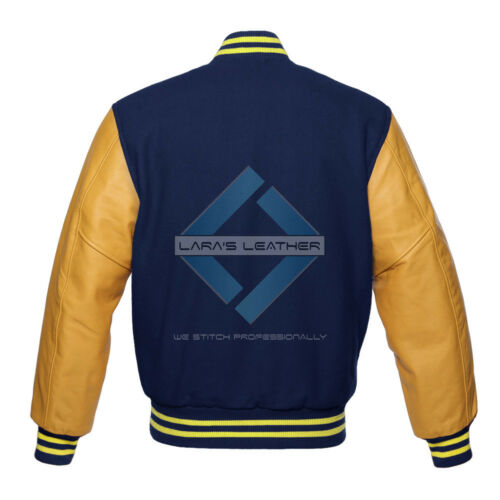 Top College Baseball Varsity Navy Wool Jacket /& Gold Real Leather Sleeve XS-4XL