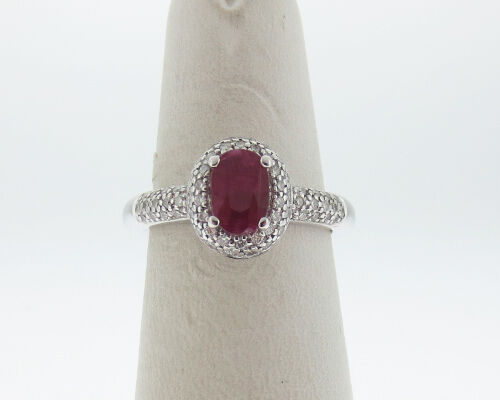 Natural Ruby Diamonds Solid 14k White gold Pave-Set Halo Ring FREE Sizing
