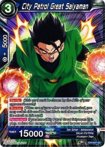 BT4-027 x4 4x Cards Dragon Ball Super CCG Mint City Patrol Great Saiyaman