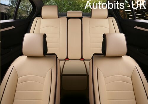 Beige Car Seat Covers Pu Leather Universal Dog Pet Protector Full Set Front Rear
