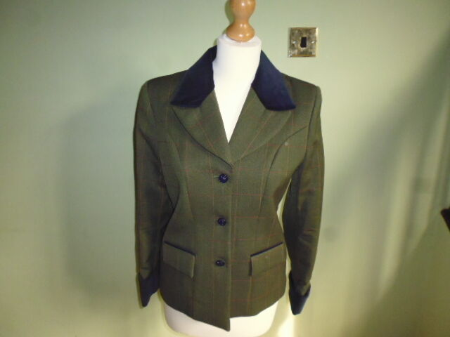 Foxley Mrs Cey Donna verde Lana Tweed PIOMBO Rein che mostra mostrare Giacca UK 10