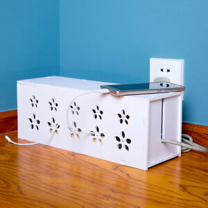 White-Floral-Cable-Storage-Box-Wire-Management-Socket-Safety-Tidy-Organizer-Case